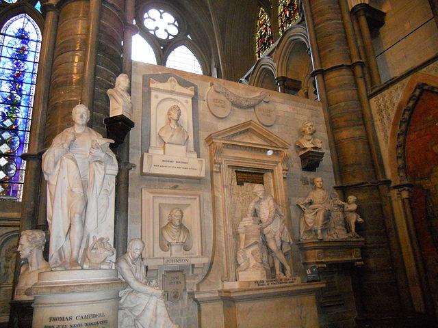 Memorials in Poets' Corner, Photo Credit Carcharoth (Commons)