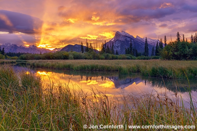 Canada, Alberta, Banff National Park, A dramatic sunrise over Mount Rundle from the Vermillion Lakes